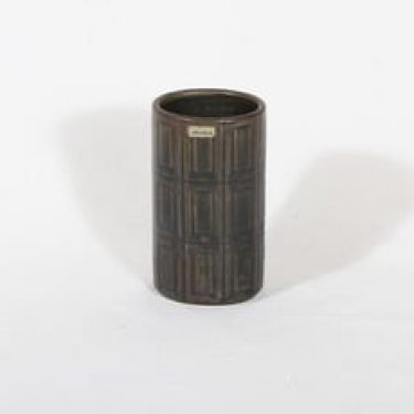 Arabia Oliivi maljakko, ruskea, suunnittelija Olga Osol, pieni, funktionalismi