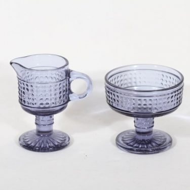 Riihimäen lasi Barokki sokerikko ja kermakko, siniharmaa, suunnittelija Erkkitapio Siiroinen,