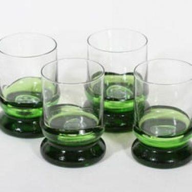 Humppila Kievari lasit, kirkas|vihreä, 4 kpl, suunnittelija Matti Halme,