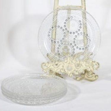 Riihimäen lasi Grapponia lautaset, kirkas, 4 kpl, suunnittelija Nanny Still, pieni
