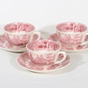 Arabia Maisema teekupit, punainen, 3 kpl, suunnittelija , kuparipainokoriste