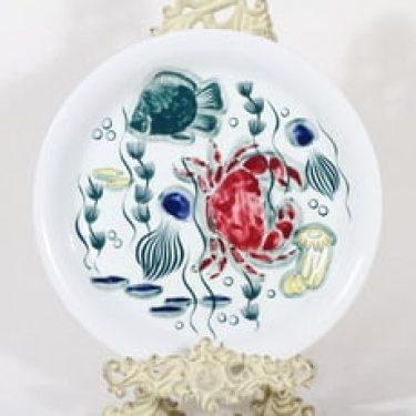 Arabia Crayfish lautanen, matala, suunnittelija Anja Juurikkala, matala, käsinmaalattu