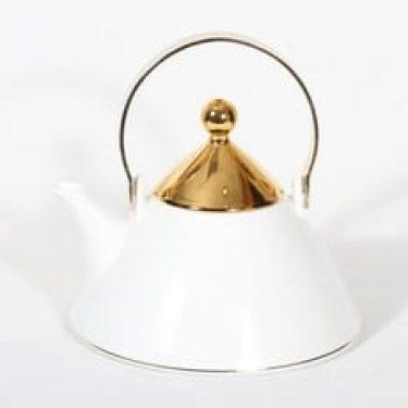 Arabia Harlekin Gold teekaadin, valkoinen, suunnittelija Inkeri Leivo,