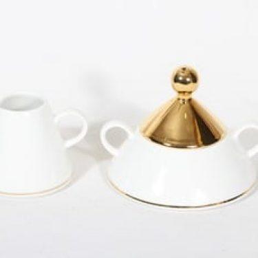 Arabia Harlekin Gold sokerikko ja kermakko, valkoinen, suunnittelija Inkeri Leivo,