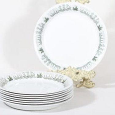 Arabia Polaris lautaset, 8 kpl, suunnittelija Raija Uosikkinen, matala, siirtokuvakoriste