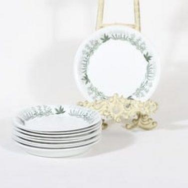Arabia Polaris lautaset, 9 kpl, suunnittelija Raija Uosikkinen, pieni, matala, siirtokuvakoriste