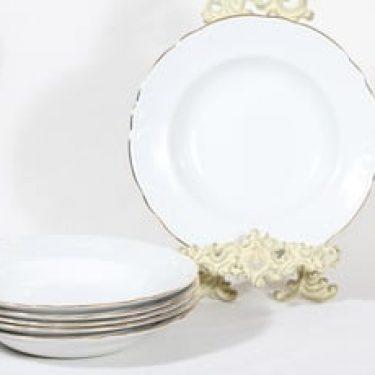 Arabia Siro lautaset, syvä, 6 kpl, suunnittelija , syvä, kultareuna
