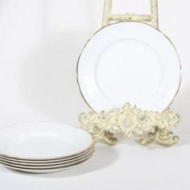Arabia Siro lautaset, valkoinen, 6 kpl, suunnittelija , kultareuna, pieni