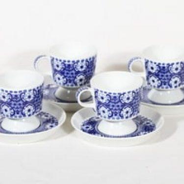 Arabia Ali kahvikupit, sininen, 4 kpl, suunnittelija Raija Uosikkinen, kuparipainokoriste