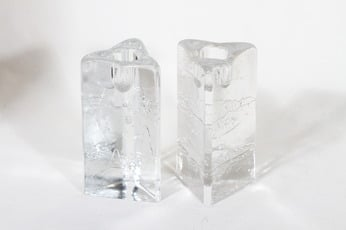 Iittala Arkipelago kynttilänjalat, kirkas, 2 kpl, suunnittelija Timo Sarpaneva,