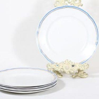 Arabia Lotta lautaset, matala, 6 kpl, suunnittelija , matala, valkoinen, raitakoriste