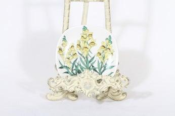 Arabia Botanica koristelautanen, Kannusruoho, suunnittelija Esteri Tomula, Kannusruoho, pieni, serikuva