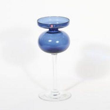 Iittala 2660 kynttilänjalka, sininen, suunnittelija Erkki Vesanto,