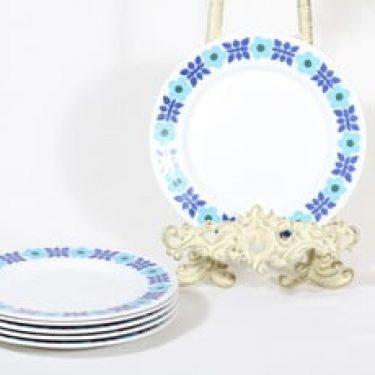 Arabia Ahmet lautaset, 6 kpl, suunnittelija Raija Uosikkinen, pieni, serikuva, retro