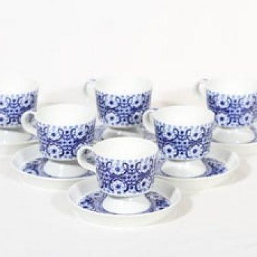 Arabia FC kahvikupit, sininen, 6 kpl, suunnittelija Raija Uosikkinen, kuparipainokoriste