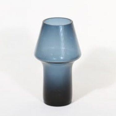 Riihimäen lasi Stromboli maljakko, siniharmaa, suunnittelija Aimo Okkolin,