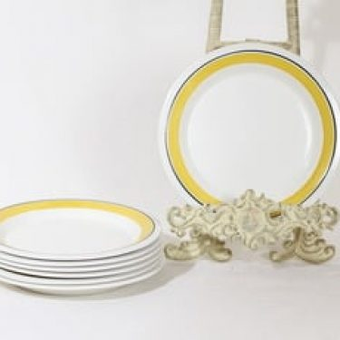 Arabia Faenza lautaset, 7 kpl, suunnittelija Inkeri Seppälä, pieni, raitakoriste