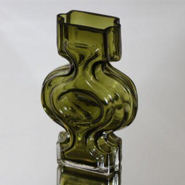 Riihimäen lasi 1310 maljakko, oliivinvihreä, suunnittelija Helena Tynell,