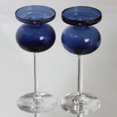 Iittala 2660 kynttilänjalat, sininen, 2 kpl, suunnittelija Erkki Vesanto,