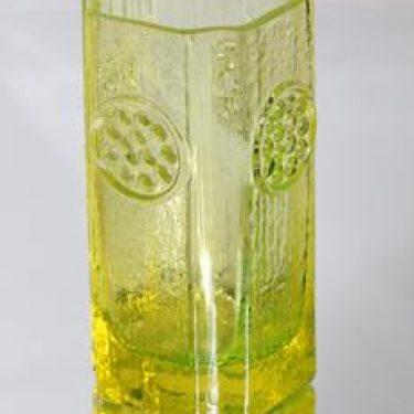 Riihimäen lasi 1497 maljakko, keltainen, suunnittelija Tamara Aladin, retro