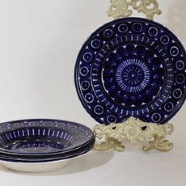 Arabia Valencia lautaset, syvä, 4 kpl, suunnittelija Ulla Procope, syvä, käsinmaalattu, signeerattu