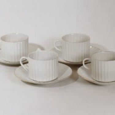 Arabia Kultapiisku kahvikupit, valkoinen, 4 kpl, suunnittelija Kaj Franck,