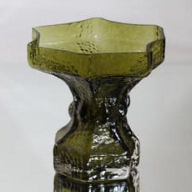 Riihimäen lasi Fantasma maljakko, oliivinvihreä, suunnittelija Nanny Still, suuri