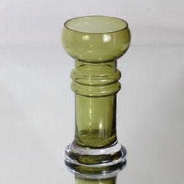 Riihimäen lasi Kielo maljakko, oliivinvihreä, suunnittelija Tamara Aladin,