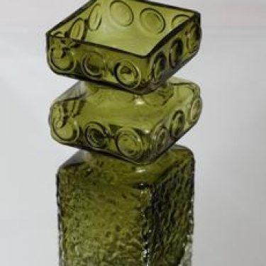 Riihimäen lasi Kehrä maljakko, oliivinvihreä, suunnittelija Tamara Aladin, suuri