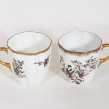 Arabia XA kahvikupit, 2 kpl, suunnittelija , siirtokuva, tuntematon koriste