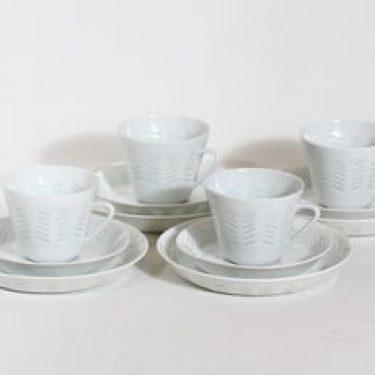 Arabia FK kahvikupit ja lautaset, 15 cl, 4 kpl, suunnittelija Friedl Holzer-Kjellberg, 15 cl, riisiposliini, massasigneerattu