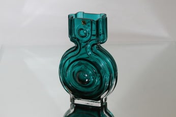 Riihimäen lasi Aitanlukko maljakko, turkoosi, suunnittelija Helena Tynell,
