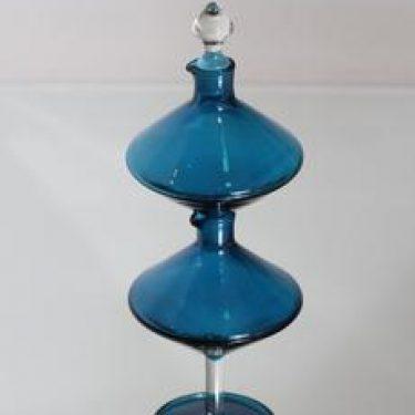 Riihimäen lasi Harlekiini etikka- ja öljykarahvi, sininen, suunnittelija Nanny Still,
