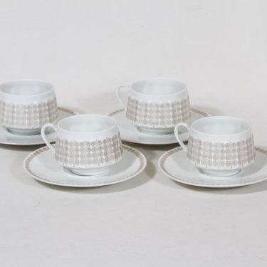 Arabia Pallas kahvikupit, 4 kpl, suunnittelija Raija Uosikkinen, serikuva
