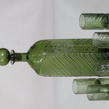 Riihimäen lasi Flindari karahvi ja lasit, oliivinvihreä, 5 kpl, suunnittelija Nanny Still, suuri