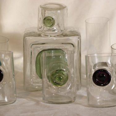 Riihimäen lasi Nappi|Tippa karahvi ja lasit, 5 kpl, suunnittelija Helena Tynell,