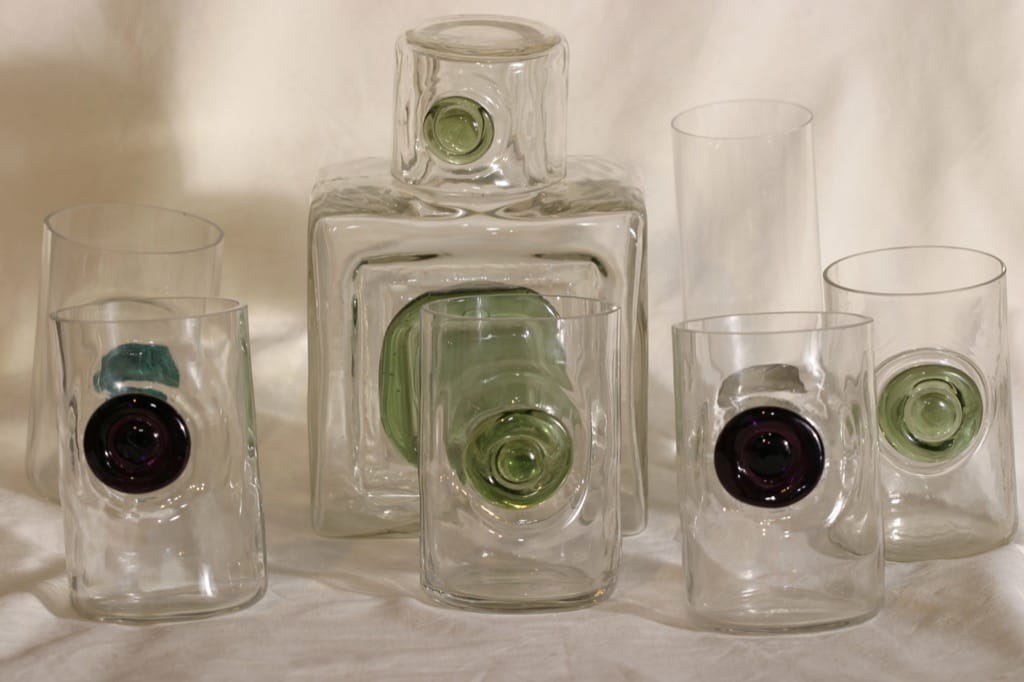 Riihimäen lasi Nappi|Tippa carafe and glasses, 5 pcs, designer Helena Tynell