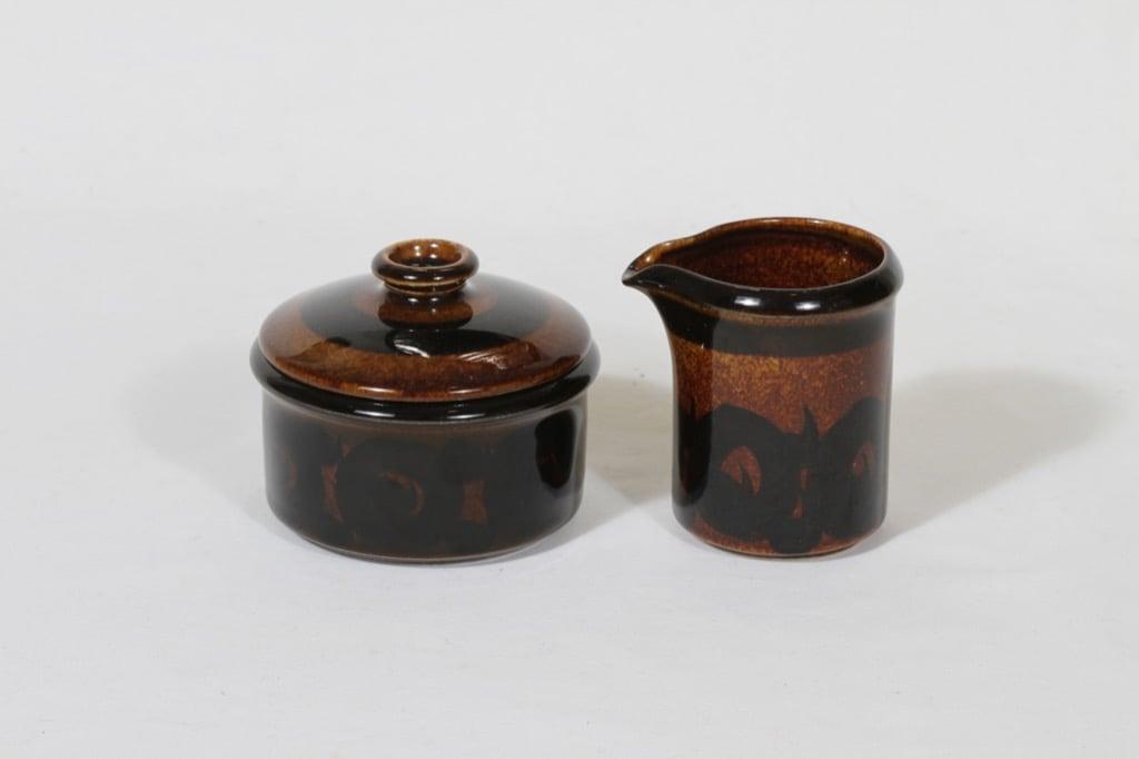 Arabia Soraya sugar bowl and creamer, hand-painted, Gunvor Olin-Grönqvist