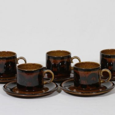 Arabia Soraya coffee cups, hand-painted, 5 pcs, Gunvor Olin-Grönqvist