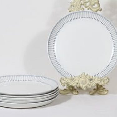 Arabia Heini lautaset, matala, 6 kpl, suunnittelija Raija Uosikkinen, matala, kuparipainokoriste