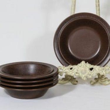 Arabia Ruska lautaset, ruskea, 5 kpl, suunnittelija Ulla Procope,