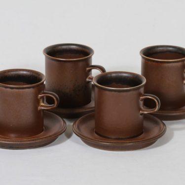 Arabia Ruska kahvikupit, ruskea, 4 kpl, suunnittelija Ulla Procope,