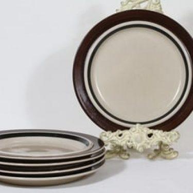 Arabia Ruija lautaset, matala, 5 kpl, suunnittelija Raija Uosikkinen, matala, raitakoriste