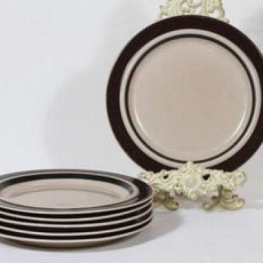 Arabia Ruija lautaset, matala, 6 kpl, suunnittelija Raija Uosikkinen, matala, raitakoriste