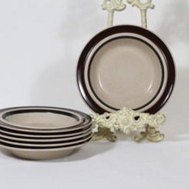 Arabia Ruija lautaset, syvä, 6 kpl, suunnittelija Raija Uosikkinen, syvä, raitakoriste