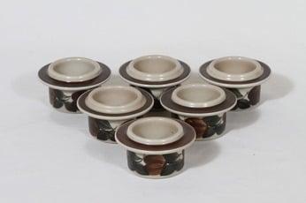 Arabia Ruija munakupit, käsinmaalattu, 6 kpl, suunnittelija Raija Uosikkinen, käsinmaalattu