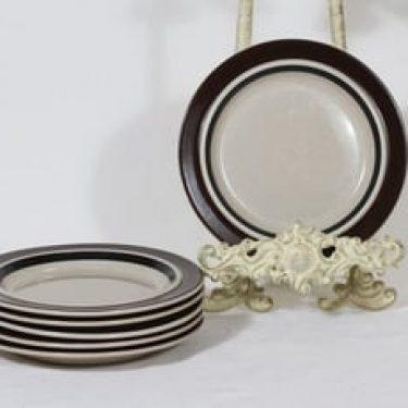 Arabia Ruija lautaset, 6 kpl, suunnittelija Raija Uosikkinen, pieni, raitakoriste