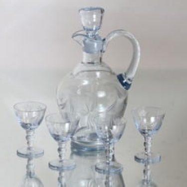 Kumela 517=2803 karahvi ja lasit, kirkas, 4 kpl, suunnittelija Ilmari Kumela, hiottu
