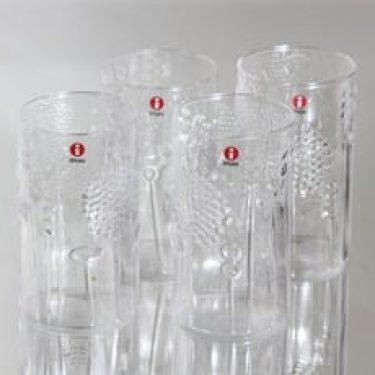Nuutajärvi Flora lasit, kirkas, 4 kpl, suunnittelija Oiva Toikka, 30 cl