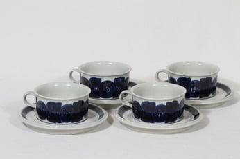 Arabia Anemone teekupit, käsinmaalattu, 4 kpl, suunnittelija Ulla Procope, käsinmaalattu, signeerattu